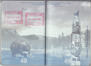Entrance and exit stamps from the Ukraine float above a trout fishing grizzly. Both the stamps and the bear are diminished by each others presence.